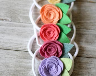 Rosette ~ Felt Flower ~ Flower Headband ~ Floral Headband ~ Flower Hair Clip ~ Pick Your Color ~ Baby Headband ~ Newborn Headband ~