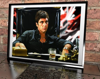 scarface al pacino painting poster print scarface illustration poster gicle print