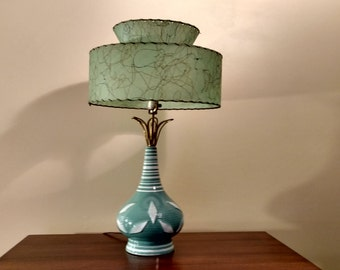 Mid Century Retro Globe Lamp with Fiberglass Shade