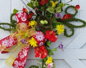 Moss covered cross door hanger, Moss medallion door hanger, Spring wreath, Summer wreath, Spring door hanger, Summer door hanger, Red/Yellow