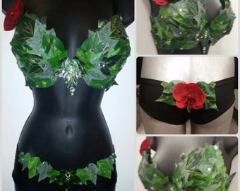 Poison Ivy - Eve - green fairy leaves Bra top & Shorts Set!