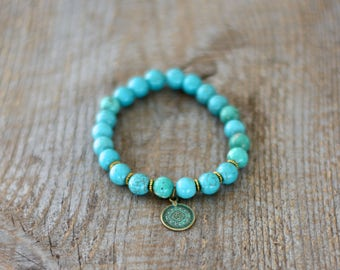 Bracelet for women's semi precious Gemstones - Turquoise - charm - Piece antique verdigris - gift for women