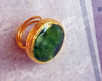 Handmade dark green round agate ring gold plated semiprecious gemstone