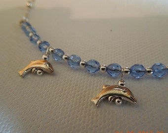 Dolphin Silver and Blue Bar Necklace and Earring Set Hand made