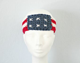 USA headbands July 4th headband flag headband Red white blue band Patriotic headband Crochet headband USA flag band America headband