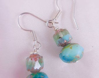 Turquoise Czech Glass Beaded Dangle Earrings