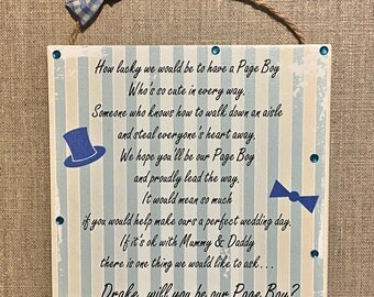 Personalised Will you be my Page Boy Ring Bearer Wooden Wedding Plaque Gift W168