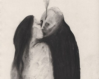 Figurative Charcoal Drawing ' Untitled Drawing 217'  - Giclee Print -