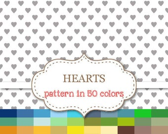 """HEARTS Digital paper 50 Color Paper Pack Heart Digital Paper Rainbow Hearts Paper Heart Pattern Scrapbook paper Commercial Use 12""""x12"""" #P115"""