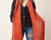 Orange bulky wool long scarf with fringes, lightweight, soft, warm womens neck wrap, cozy accessory, snugly scarf, oversized winter clothing