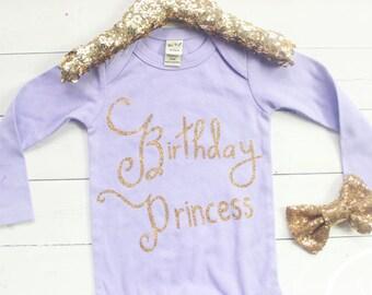 Girl birthday shirt, Purple birthday outfit, Cake Smash, 1st Birthday outfit, Bodysuit, Glitter