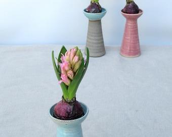 Hyacinth vase, turquoise ceramic vase, turquoise flower vase, Hyacinth, turquoise ceramic bud vase, pottery bud vase, windowsill decoration