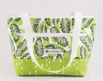 Insulated lunch bag, Zipped bag, Leaves, Green, Made in Quebec, Gift for her