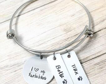 I Love My Furbabies, Bangle Bracelets, Dog Name Jewelry, Dog Mom Gift, Fur Mama, Dog Lover Jewelry, Personalized Cat Mom, Pet Name Bracelets