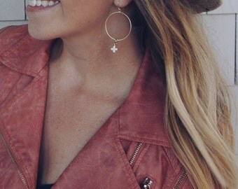 Bone Stone Cross 14K Gold Dipped Earrings / Gift for a woman