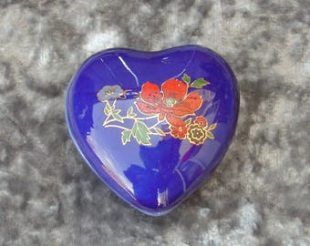 Vintage Blue Floral Earthenware Heart Trinket Box