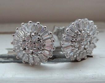 Sterling Silver Sunray CZ Stud Earrings
