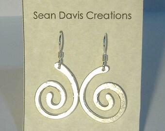 Sterling Silver Spiral Earrings E-30 (lg)