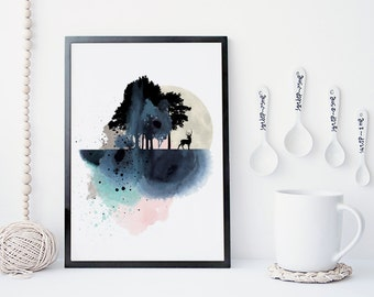 landscape watercolor art print, mountain art print, poster, nature prints, modern deer poster, home wall decor, apartment wall art, hanging