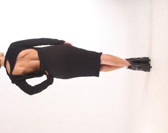 Black Sweater Dress / Paradox / Backless Dress / Black Midi Dress / Evening Dress / Casual Dress / Party Dress / Bear Back Dress PD0017