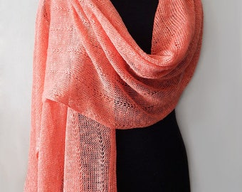 Knitted linen lace scarf, coral scarf, lace summer scarf, linen silk scarf, knitted long wide scarf, linen wrap, women's scarf
