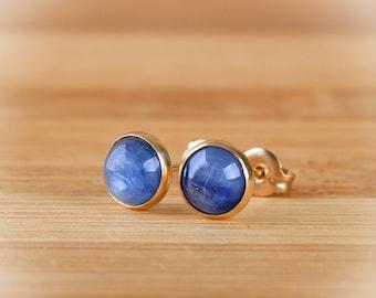 Kyanite Earrings, Kyanite stud Earrings, 6mm or 10mm Blue gemstone posts, Gift For Her: 14k Gold Filled, Sterling Silver, Oxidized silver