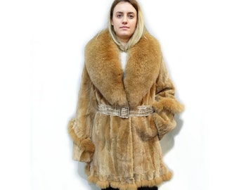Real beaver fur,fur coat,beaver fur,fox collar fur,shearling coat,big fox collar,fur jacket,sheared coat,gold beige coat,winter coat F490