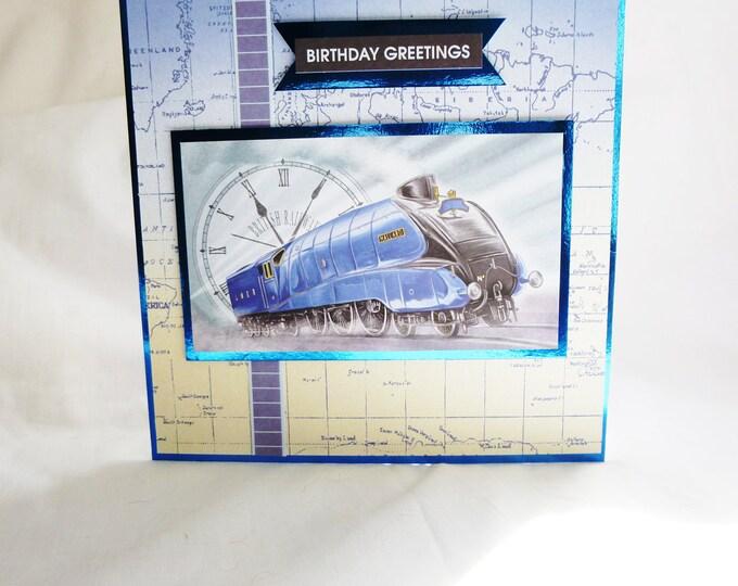 Mans Birthday Card, Greeting Card, British Railways, Blue Train, Locomotive, Male Any Age, Dad, Son, Nephew, Brother, Uncle