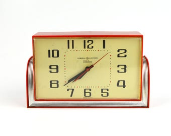 Vintage GE Telechron Clock Red Art Deco Wall Clock Retro Electric Analog