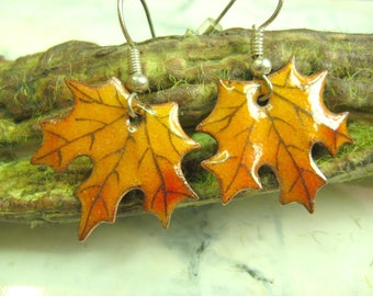 Earrings Maple leaves, sugar maple, autumn leaves, sugar maple leaf earings, autumn leaf, copper enameling, orange