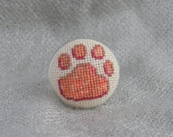 Dog paw ring, Cross stitch beige ring, Embroidered jewelry, Unique ring, Handmade beige ring, Dog jewelry, Pets gift, Beige jewelry
