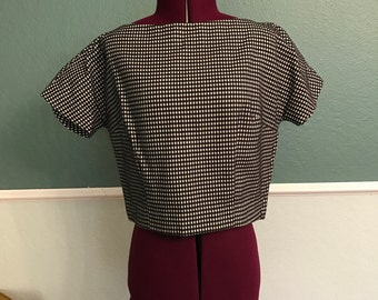 1950s Black and White Textured Crop Top S