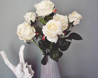 White rose bush | rose arrangement bouquet | rose flower bouquet | white rose bouquet | silk rose bouquet | rose bridal bouquet
