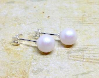 Pearlescent White Pearl Studs, White Pearl Stud Earrings, Swarovski Pearl Post Earrings, White Stud Posts, Pearl Earrings, Sterling Silver