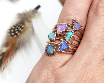 Small Opal Ring, Dainty Opal Ring, Raw Opal, Ring,  Rough, Opal Stacking Ring, Opal Ring, October Birthstone, Gifts For Her, opal fire ring