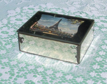 Vintage Eiffel Tower in Paris Mirror Trinket Box.  French Mirrored Glass Jewelry Box.