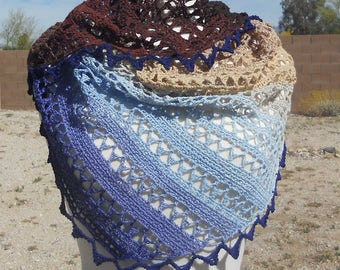 Chocolate Covered Blueberries Cotton Asymmetrical Triangular Crocheted Shawl