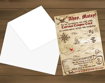 Printed Pirate Birthday Invitations - Treasure Map - Pirate Party - Treasure Map Invite - Pirate Birthday - Pirate Invitation