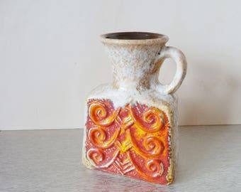 Flower vase / handle vase / vintage ceramic vase / german pottery / 70s, vase Jopeko