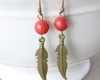 Coral Feather Earrings - Bronze Earrings, Bronze Jewelry, Bamboo Coral, Gemstone Earrings, Boho Earrings, Bohemian Earrings, Red Earrings