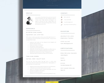 """Modern Resume Template   Professional Teacher Resume   CV / Resume + Cover Letter + Advice   Word Resume Template   The """"Dulwich"""""""
