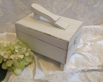 Shabby Chic Storage Shoe Shine Box Repurposed Book Shelf Sewing Box Yarn Box