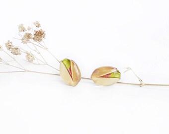Pistachio earrings , Nuts earrings , Healthy food earrings , Pistachio studs , Pistachio lover gift , Nuts lover gift , Nuts jewelry