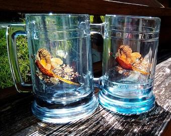Vintage Smoke Glass, Gold Greek Key Trim, Water Fowl/Pheasant Beer Mugs/Steins/Glasses, Barware, Glassware