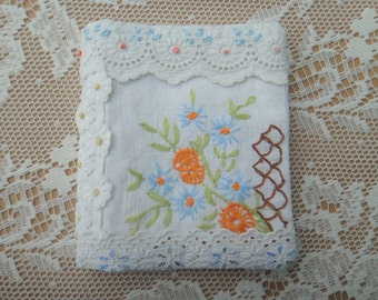 Needlebook made from Vintage Embroidered Textiles with Monogram letter N