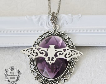 Silver bat necklace with purple gem 30x40mm-gothic pendant-cameo bat necklace