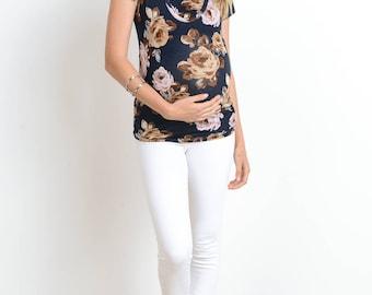 Hello Miz Floral Double Layer Scoop Neck Maternity/Nursing Top