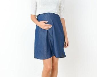 Hello Miz Indigo With a Side Pocket Maternity/Nursing Dress