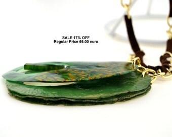 fimo clay | polymer clay canes |  imitation jewelry | Emerald necklace | Jade pendant | Liver | Shamrock | Khaki | sienna | Fallow