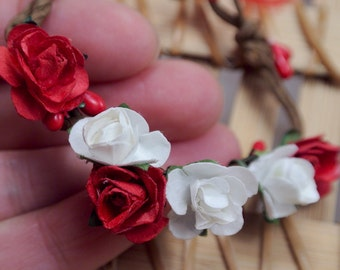 Paper flower headband for Monster High, Ever after High - Red, white